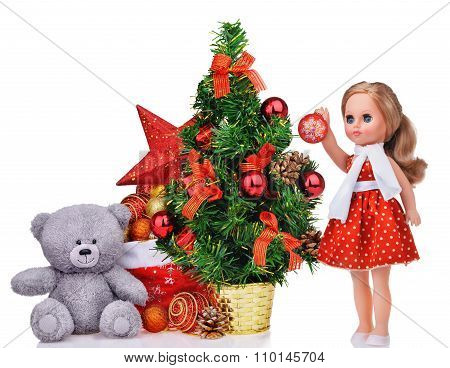 Composition With Teddy Bear Christmas Tree Doll And Santa Claus Bag
