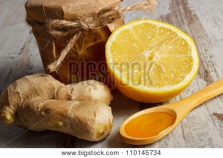 Fresh Lemon, Honey And Ginger On Wooden Table, Healthy Nutrition
