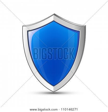 Computer network and IT infrastructure protection concept. Vector illustration of blue glossy shield