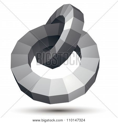 Vector Complicated 3D Figure, Modern Digital Technology Style Form, Circles. Abstract Unusual Gray T
