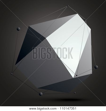 Geometric Abstract 3D Complicated Lattice Object Over Dark Background, Asymmetric Element