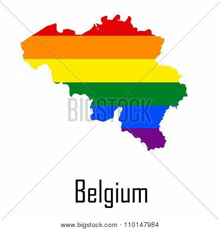 Vector Rainbow Map Of Belgium In Colors Of Lgbt - Lesbian, Gay, Bisexual, And Transgender - Pride Fl