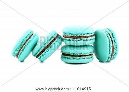 Tasty Blue Macarons Isolated On White