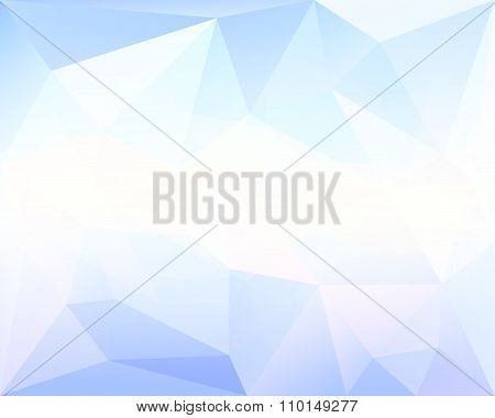 Polygonal Triangle Vector Background, Blue, White And Turquoise Colored, With Centered Gradient