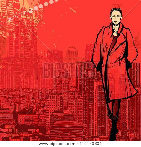 Woman fashion model in New York - Vector illustration