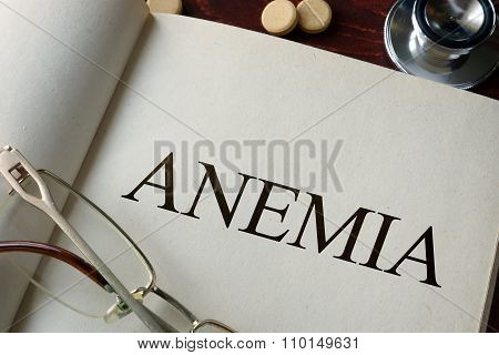 Book with diagnosis anemia.