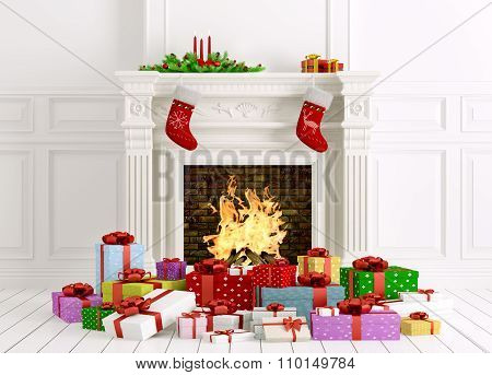 Christmas Interior With Fireplace And Gifts 3D Rendering