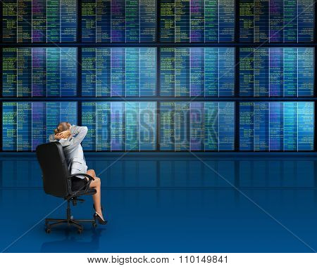 Businesslady sitting in front of screens, relaxing