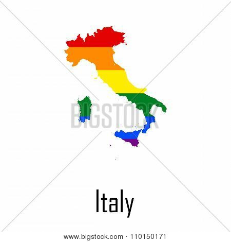 Vector Rainbow Map Of Italy In Colors Of Lgbt - Lesbian, Gay, Bisexual, And Transgender - Pride Flag