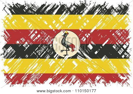 Ugandan grunge flag. Vector illustration.