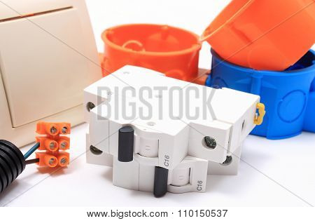 Components For Electrical Installations On White