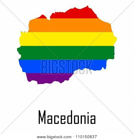 Vector Rainbow Map Of Macedonia In Colors Of Lgbt - Lesbian, Gay, Bisexual, And Transgender - Pride