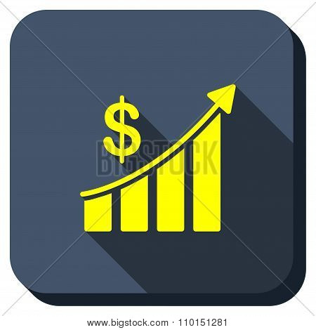 Sales Trend Bar Chart Longshadow Icon