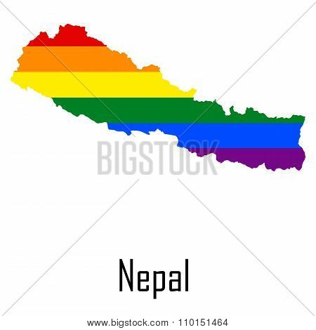 Vector Rainbow Map Of Nepal In Colors Of Lgbt - Lesbian, Gay, Bisexual, And Transgender - Pride Flag