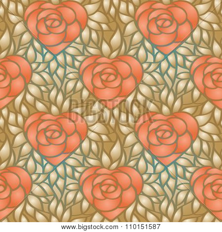 Heart Shaped Rose And Gold Leaves. Vector Seamless Background
