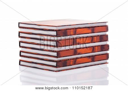 Stacked Books Over White