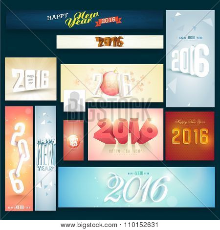Creative Social Media post and header set with stylish elements for Happy New Year celebration.
