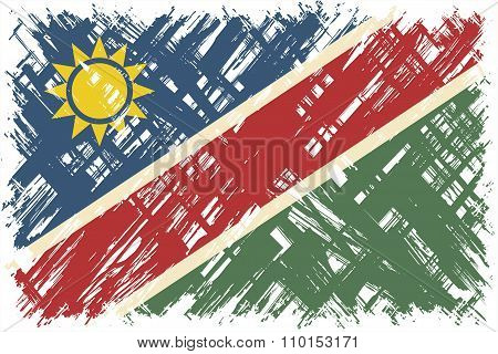 Namibian grunge flag. Vector illustration.