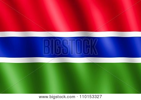 Flag Of Gambia Waving In The Wind