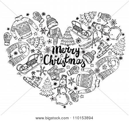 Set Of Vector Hand Drawn Winter Holiday Elements In Heart Form