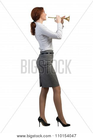 Businesswoman play fife