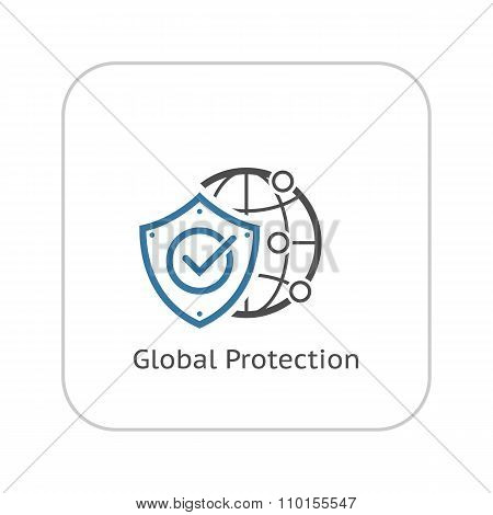 Global Protection Icon. Flat Design.