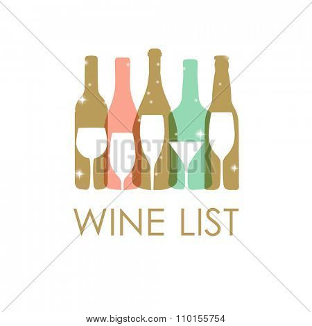 Vector Illustration of wine bottles and glasses in pastel colors. Wine list design template. Christmas or New year wine card.