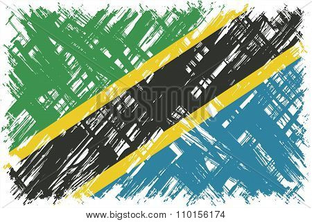 Tanzanian grunge flag. Vector illustration.
