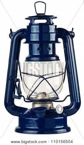 Blue Kerosene Lantern Isolate