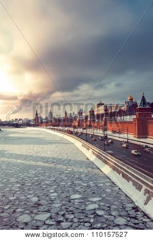 View Of Kremlin And Winter Moscow River At Sunset