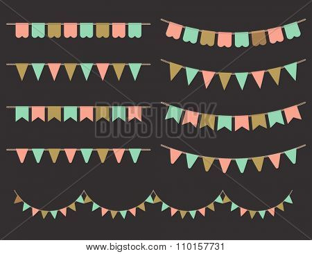 Vector Illustration of Colorful Garlands on black background. Pastel pink, gold and mint colors buntings and flags. Holiday set.
