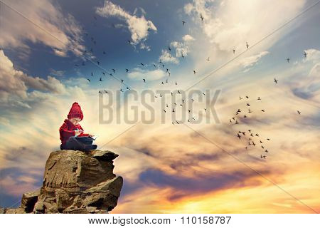 Boy, Sitting On A Rock In The Sky, Birds Flying Around Him