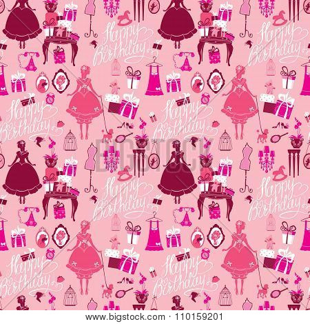 Holiday Seamless Pattern For Girls. Princess Room - Glamour Accessories, Gift Boxes, Pictures. Princ