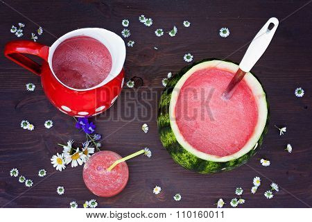 Fresh Bowl Of Watermelon Drink, Drink In A Glass And Some Fresh Fruits On A Brown Wooden Background