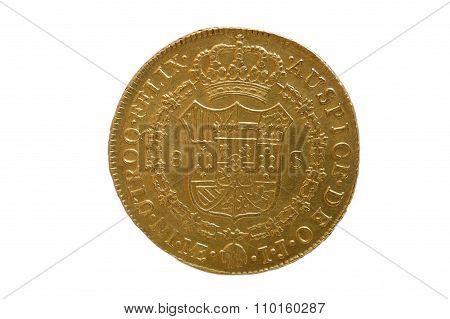 A Spanish gold coin of the year 1788, eight escudos
