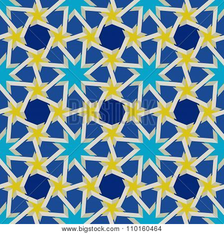Vector Seamless Geometric Blue Yellow Islamic Pattern