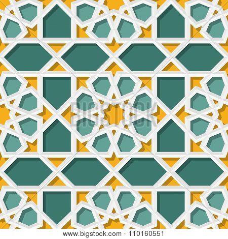 Vector Seamless Geometric Teal Yellow Islamic Star Pattern