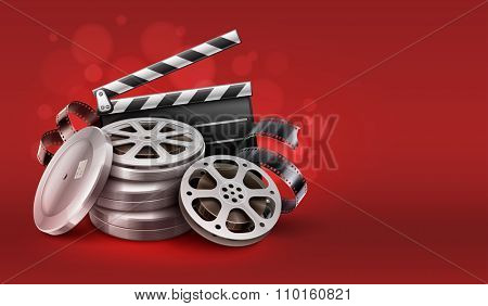 Cinema film movie tape disks in boxes and directors clapper for filmmaking. Vector Illustration