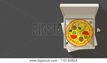 Italian pizza fast-food in open boxx. vector illustration. Transparent objects used for lights and shadows drawing.