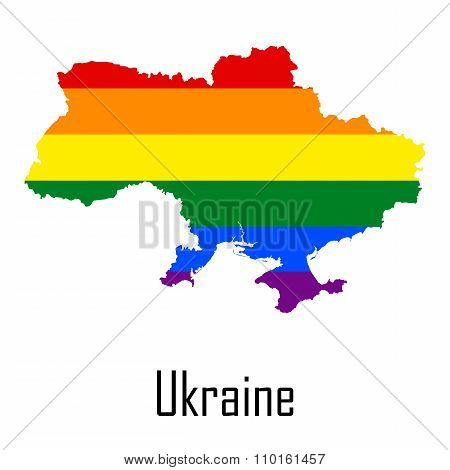 Vector Rainbow Map Of Ukraine In Colors Of Lgbt - Lesbian, Gay, Bisexual, And Transgender - Pride Fl