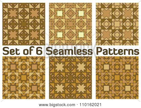 Set Of Six Trendy Geometric Seamless Patterns With Triangles And Squares Of Beige, Light Brown, Gold
