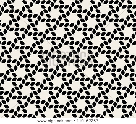 Vector Seamless Black  White Ellipse Hexagonal Rounded Rope Lines Pattern