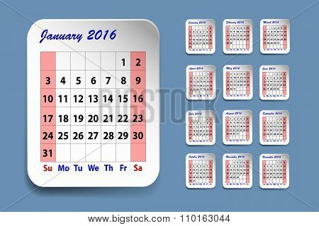 Calendar For January 2016