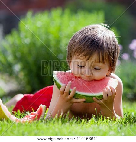 Boy, Eating Watermelon In The Garden, Summertime