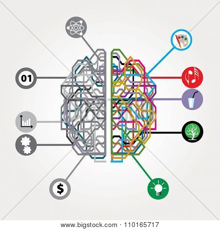 vector abstract digital brain with left and right human brain hemispheres