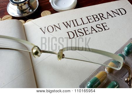 Book with diagnosis   Von Willebrand disease.