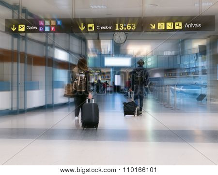 Airline Passengers in an International Airport.