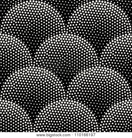 Vector Seamless Black  White Halftone Stippling Half Circles Pavement Pattern