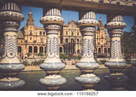 Ceramic Bridge Inside Plaza De Espana In Seville, Spain.