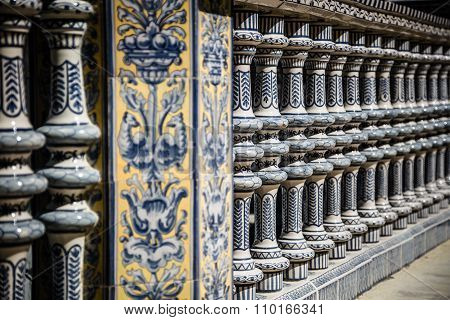 Ceramic Bridge Inside Plaza De Espana In Seville, Spain.